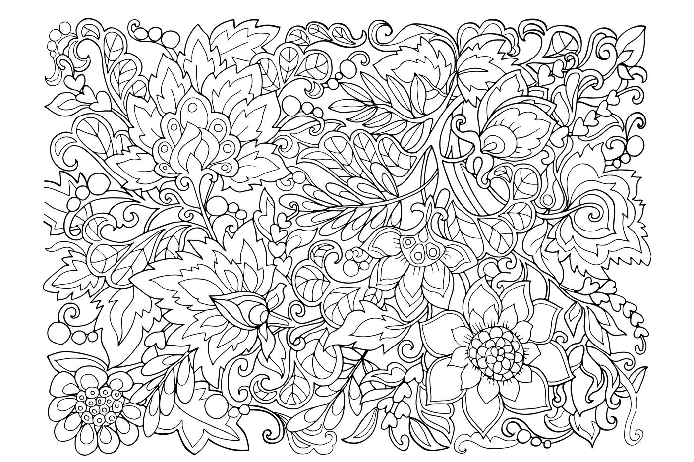 Decorative Flowers Coloring Pages By Elen Lane Thehungryjpeg Com