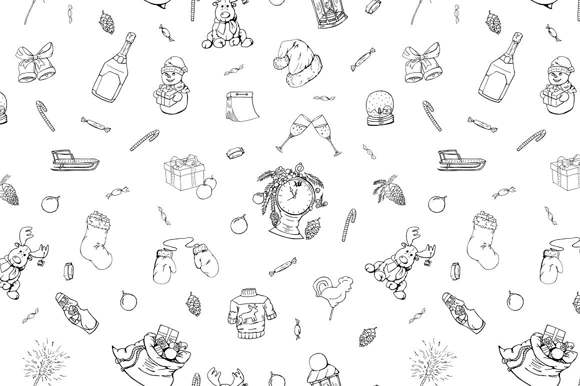 Christmas Doodle Set Patterns By Expressshop Thehungryjpeg Com