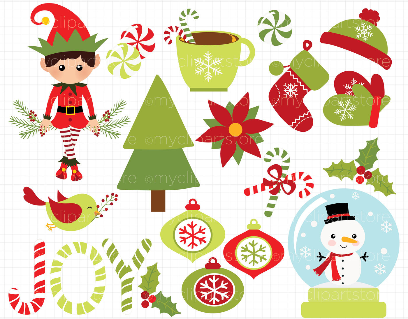 Christmas Joy Elf And Snow Globe Vector Clipart By
