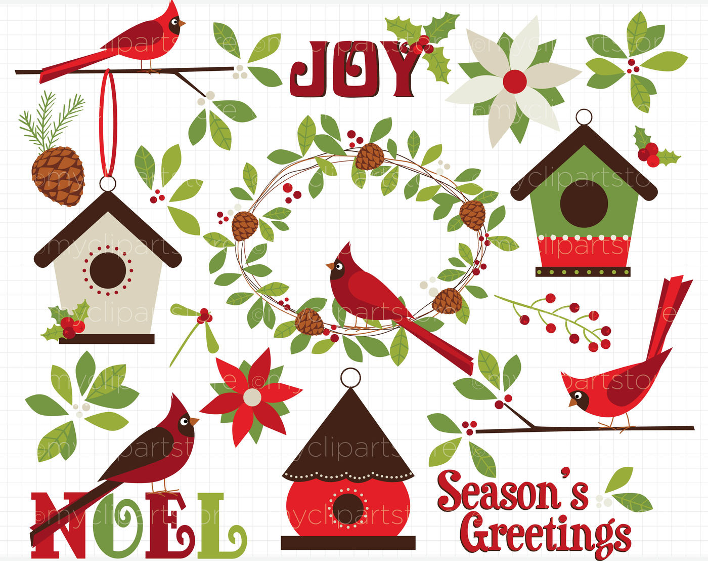 Christmas Cardinals Clipart.Christmas Red Cardinals Vector Clipart By Myclipartstore