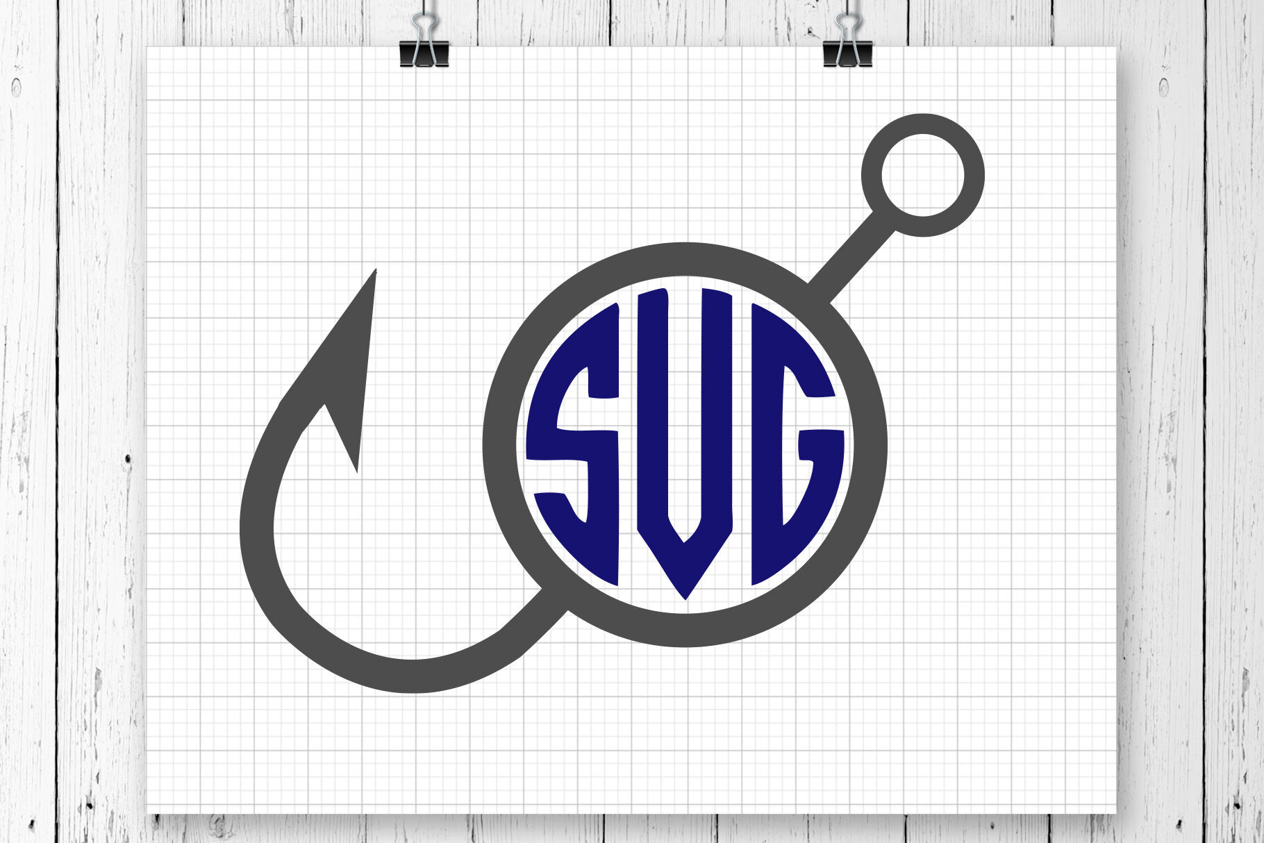 Download Fishing Hook Monogram Svg Clipart By Svg Ful Thehungryjpeg Com