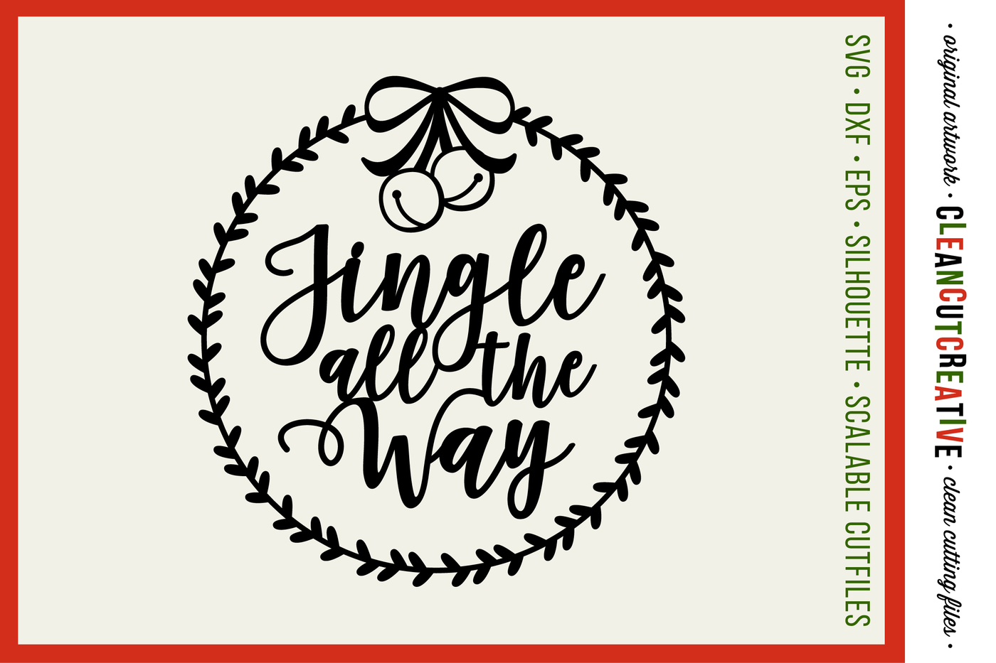 Jingle All The Way With Wreath Christmas Design Svg Dxf Eps Png