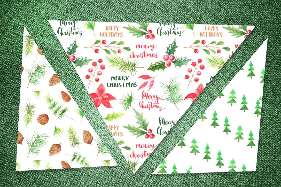 Watercolor 10 Christmas Patterns By Larysa Zabrotskaya