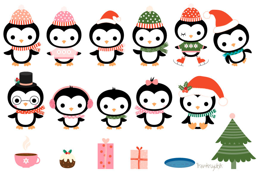 Christmas Penguins Clipart Set Cute Penguin Clip Art Collection