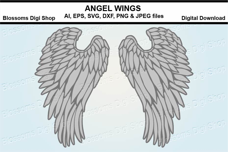 Angel Wings Svg Dxf Eps And Png Cut Files By Blossoms Digi Shop
