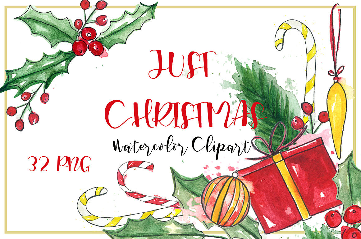 Christmas Bundle Watercolor Clipart By Labfcreations