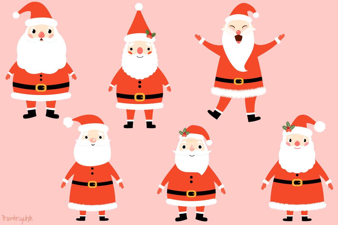 Kawaii Santa Claus Clipart Set Cute Santa Clip Art Funny Santas