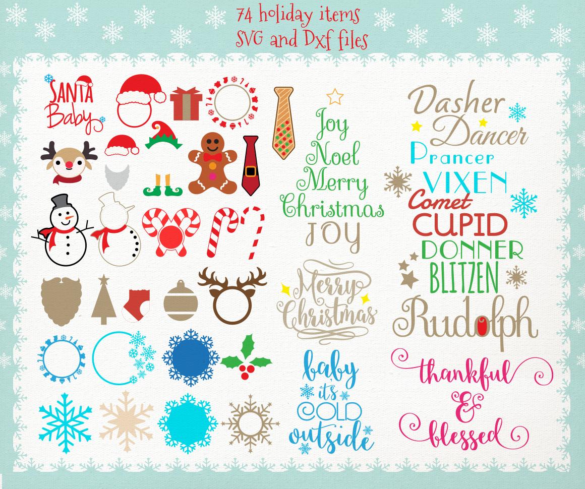 Huge Christmas Bundle Svg Dxf Files By Cutesy Pixel Thehungryjpeg Com