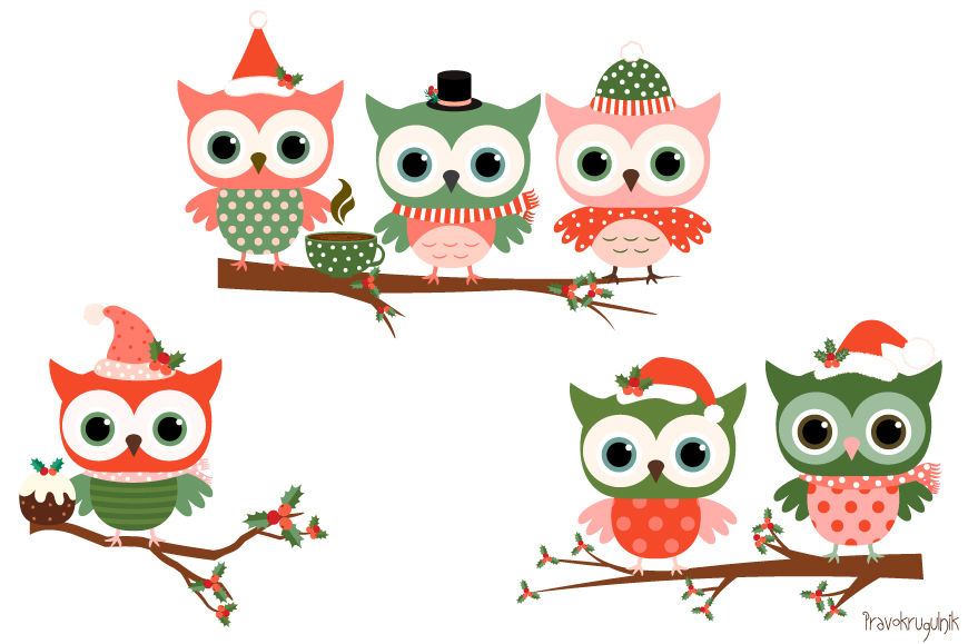 Christmas Owls Clipart Set Cute Owl Clip Art Winter Holiday Owls