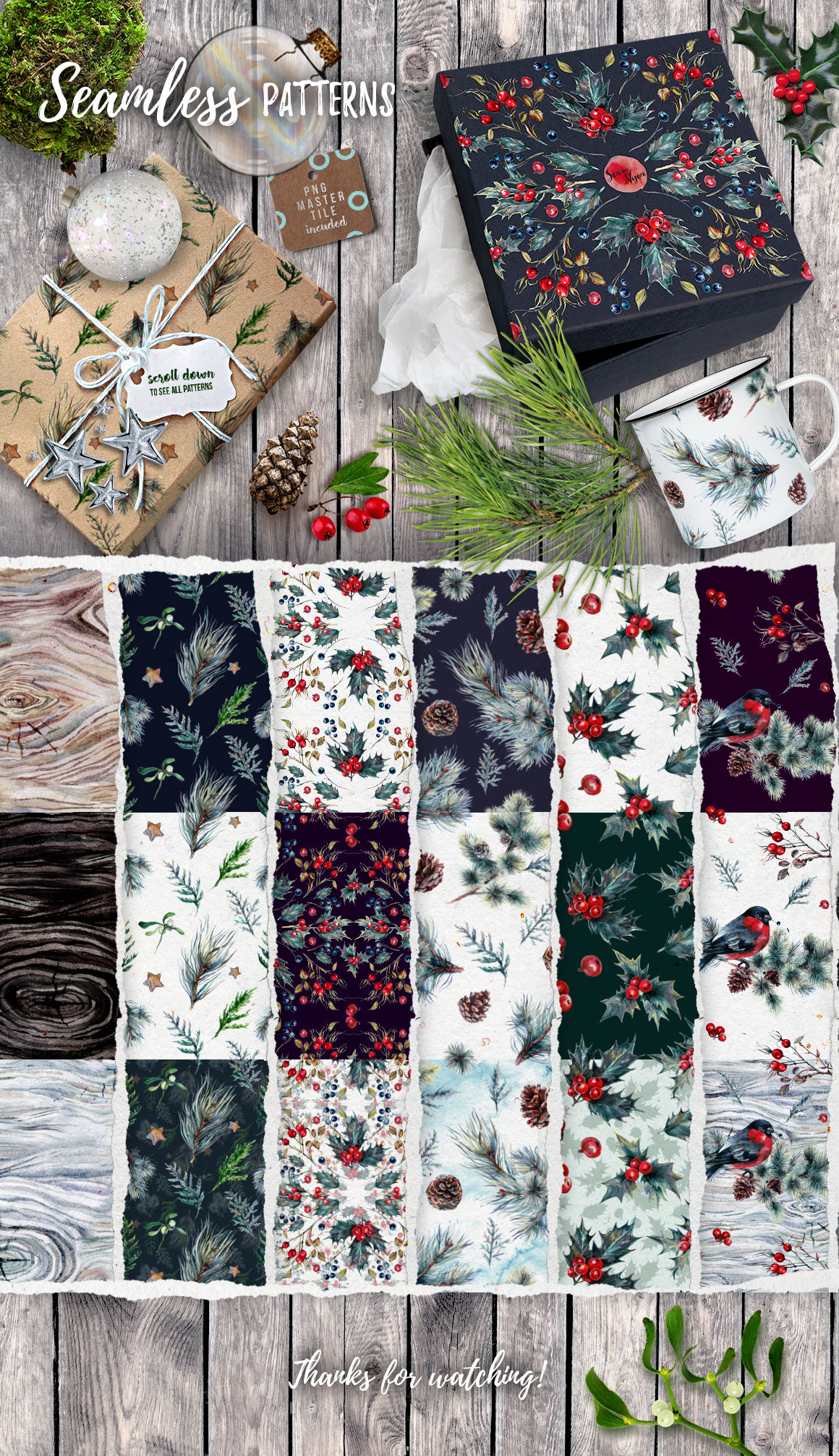 Mr Bullfinch Christmas Watercolor Pack By Southpaw Art Studio