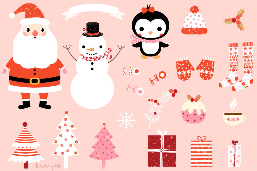 Cute Christmas Clip Art Set Kawaii Santa Claus Clipart Christmas