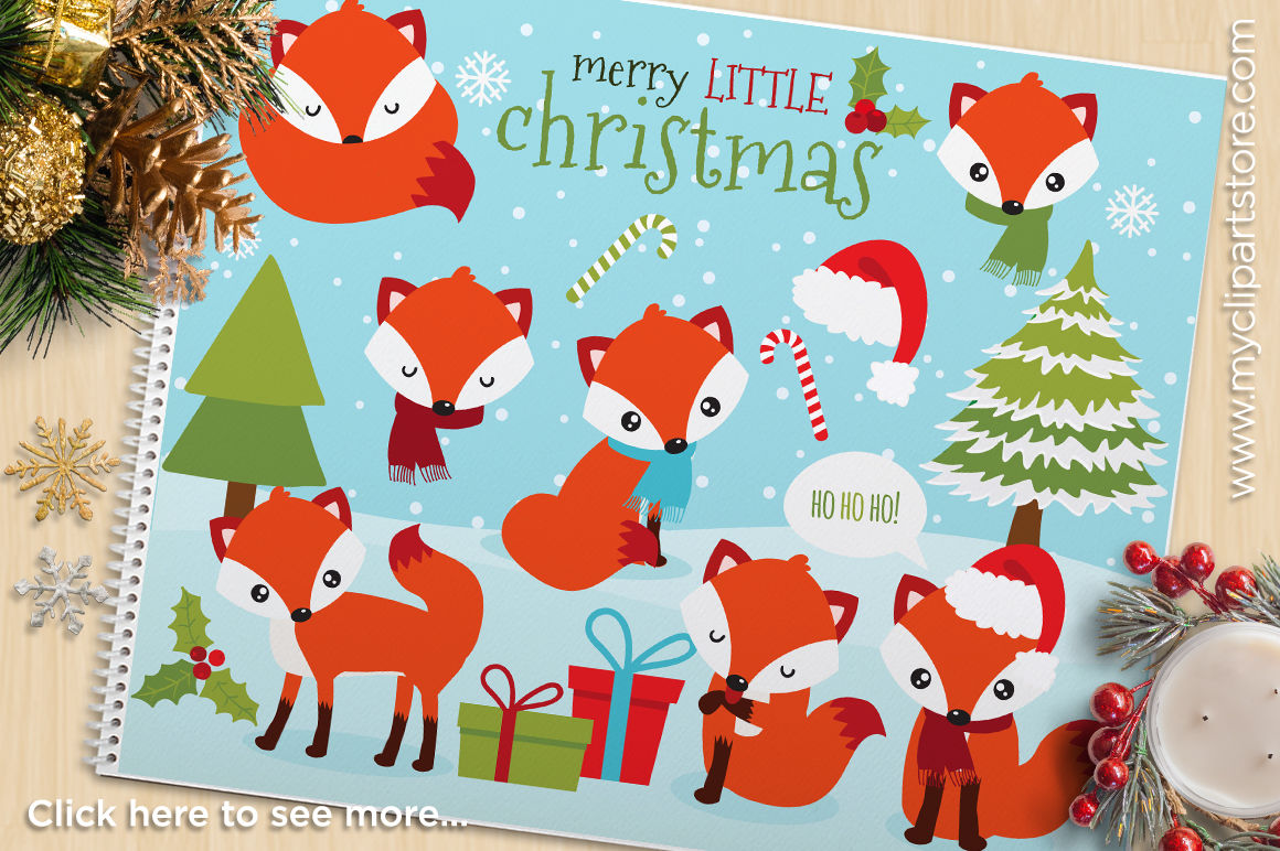 Red Christmas Fox Vector Clipart By Myclipartstore Thehungryjpeg Com