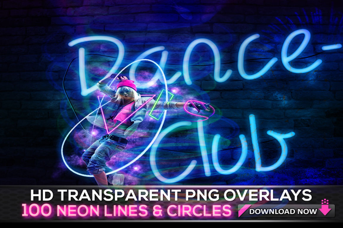 100 TRANSPARENT PNG Neon Lines Overlays By Digital Media