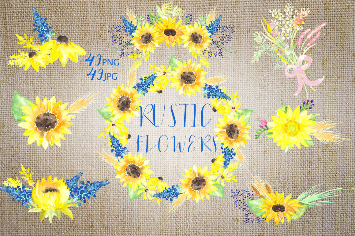 Rustic sunflowers Watercolor clipart By LABFcreations ...