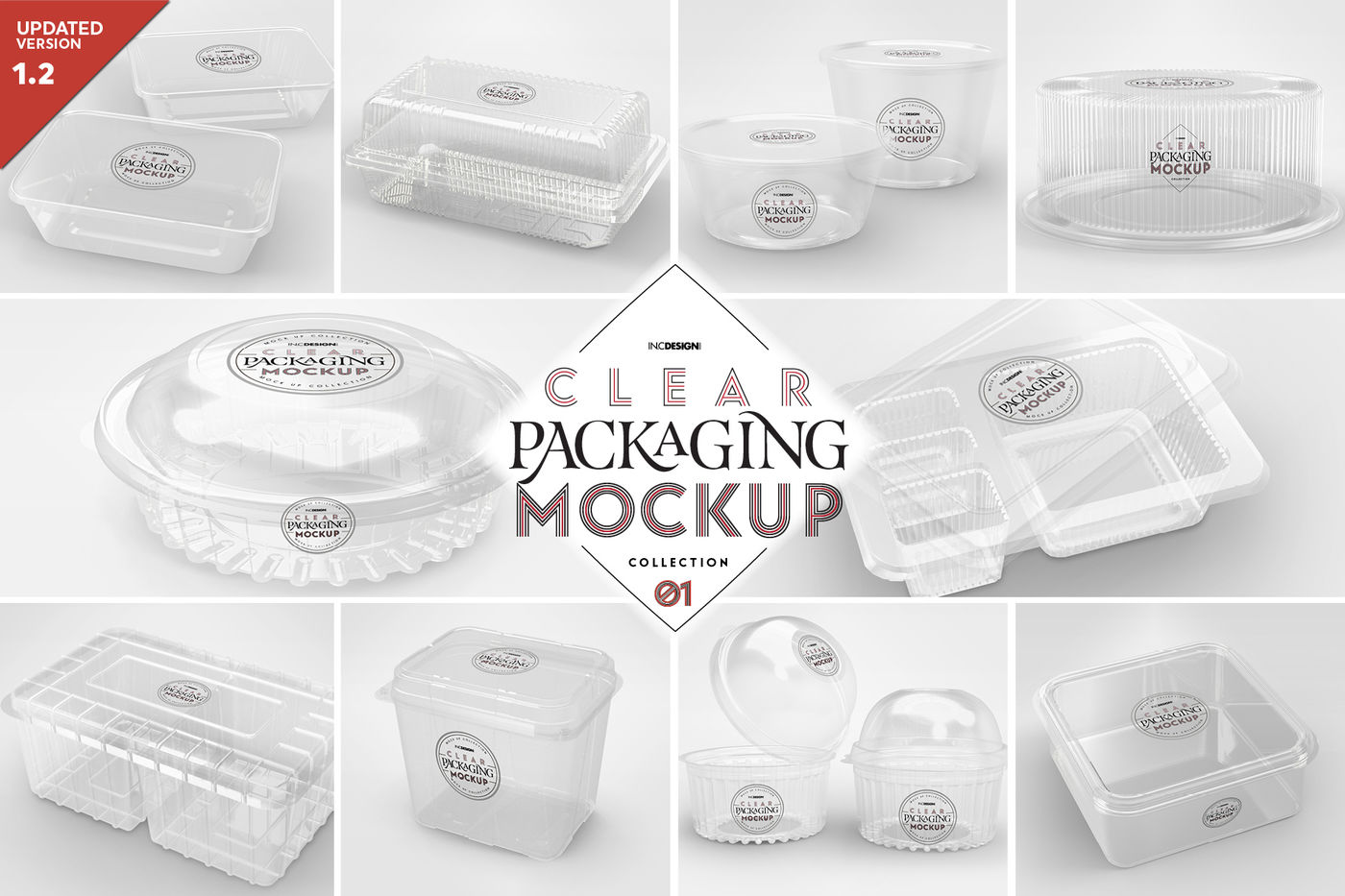 Vol 1 Clear Plastic Food Containers Packaging Mock Up Collection