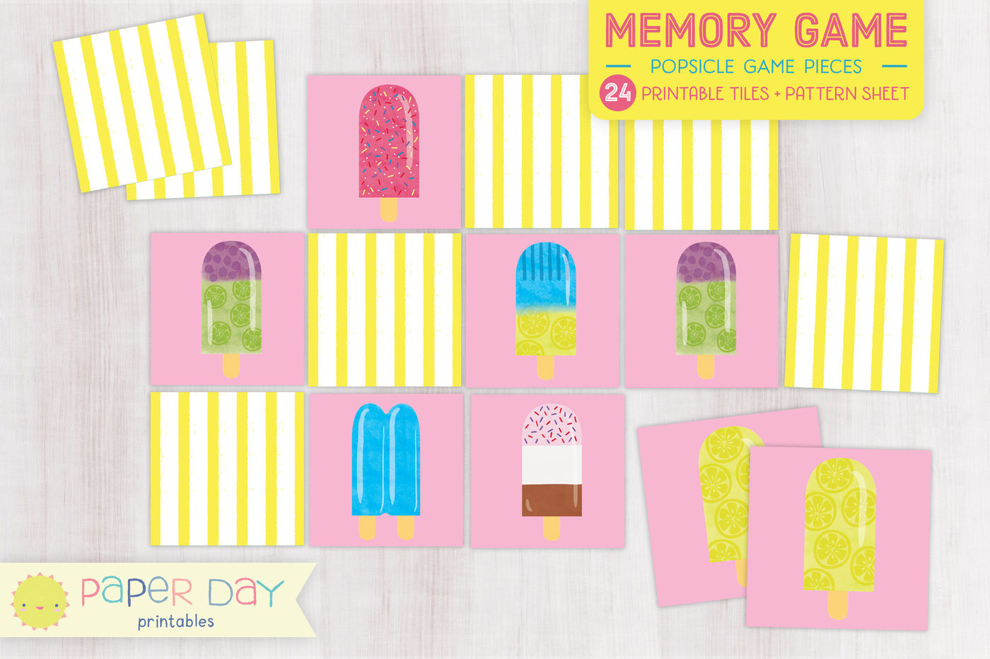 picture about Printable Memory Game called Printable Popsicle Memory Sport By way of Paper Working day Printables