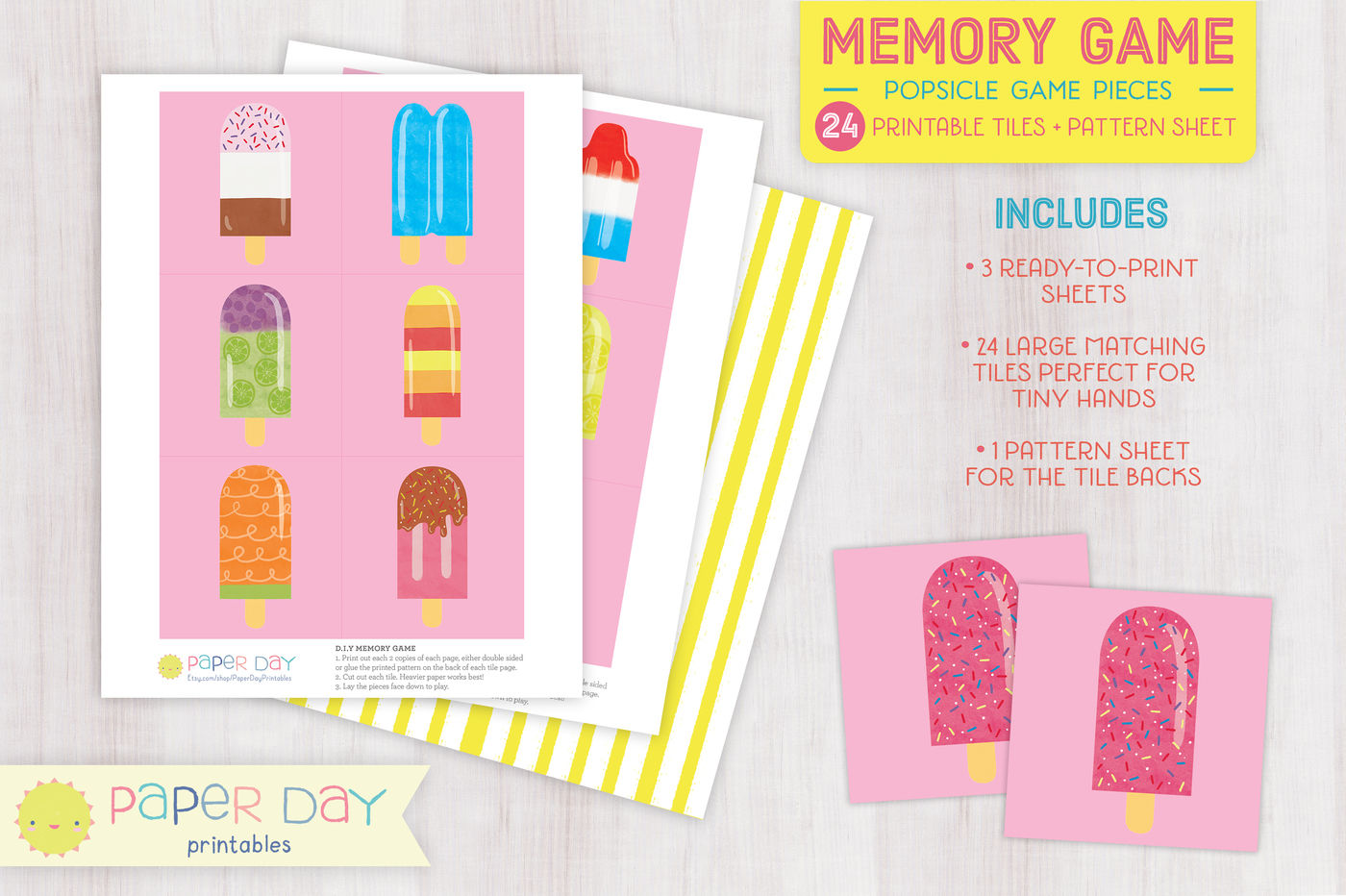 image about Printable Game Pieces known as Printable Popsicle Memory Sport By way of Paper Working day Printables