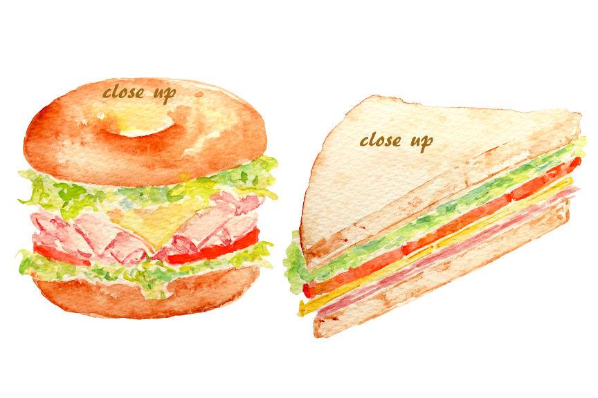 Watercolor Sandwich Burger Hotdog By Cornercroft Thehungryjpeg Com