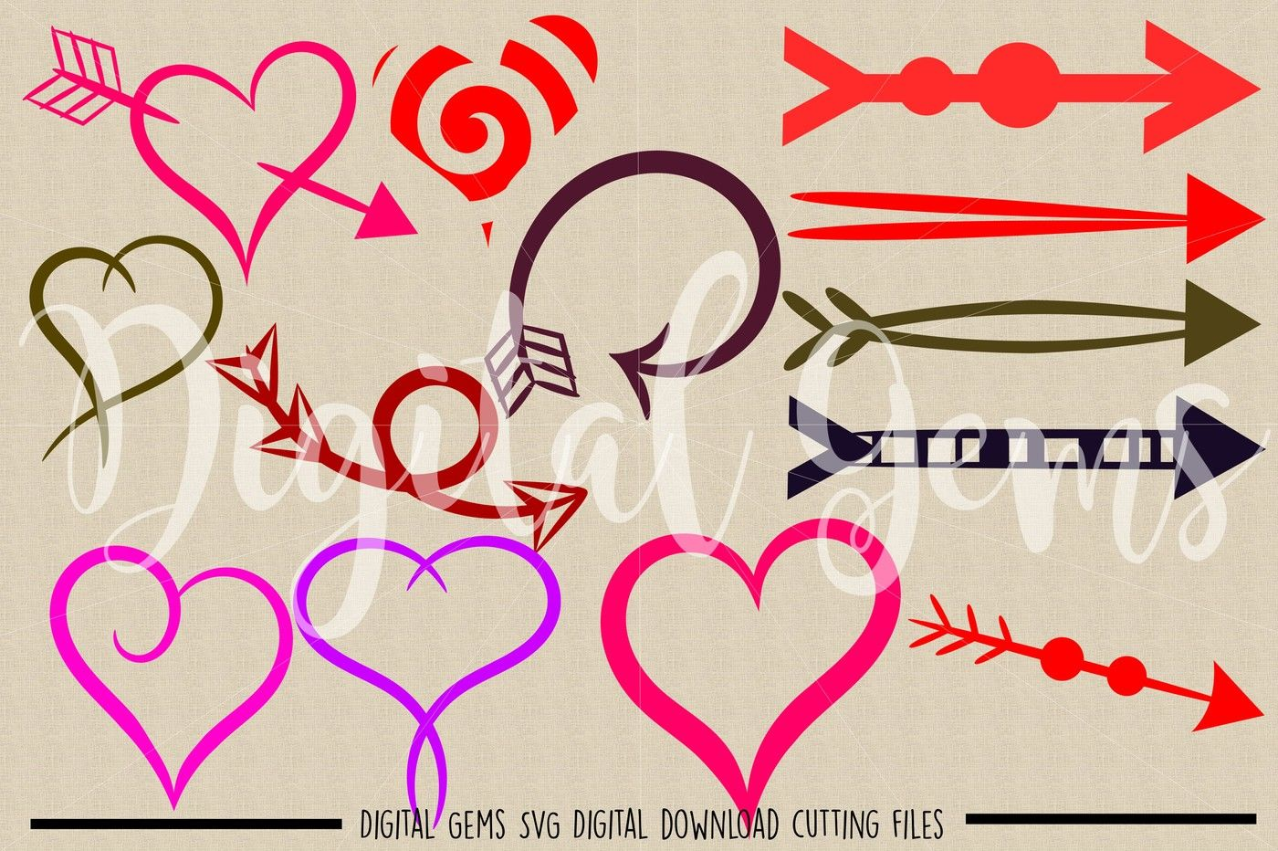 Hearts Arrows Svg Dxf Eps Png Files By Digital Gems