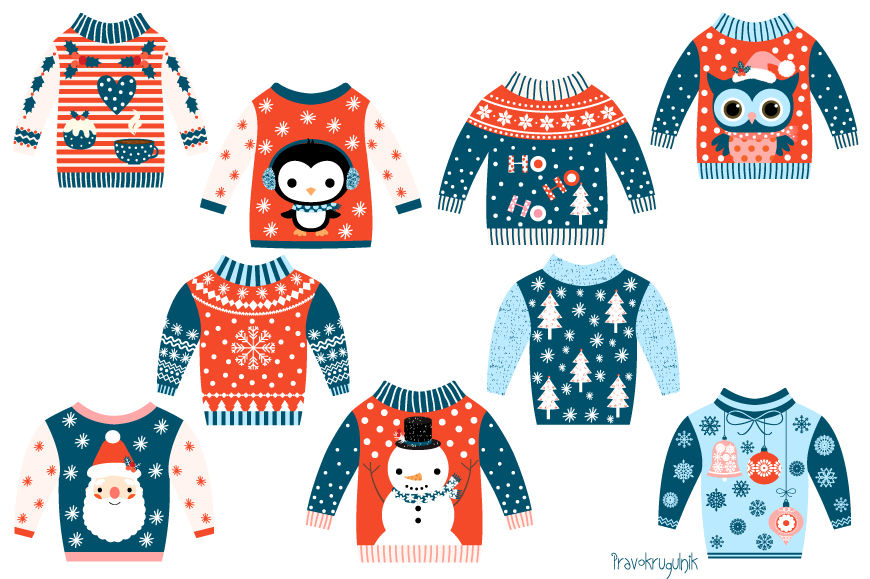 Christmas Sweater Clipart.Tacky Christmas Sweater Clipart Ugly Christmas Sweaters
