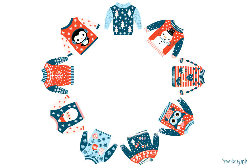 Tacky Christmas Sweater Clipart  Ugly Christmas Sweaters