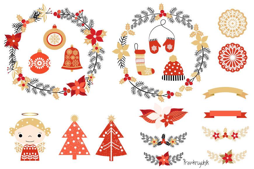 Cute Christmas Clipart Set Christmas Wreaths Clipart Angel Tree