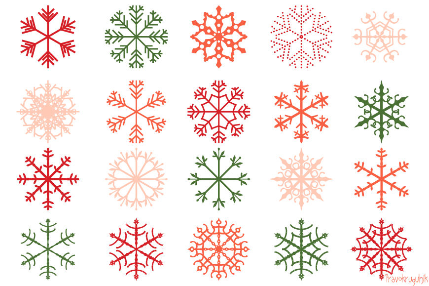 Red Christmas Snowflakes Clipart Set Pink Snowflake Clip Art