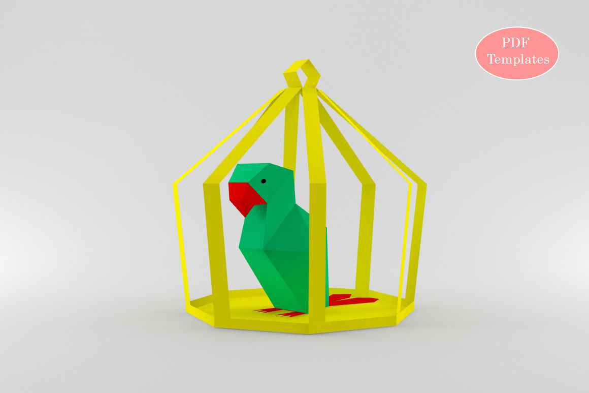 Diy Parrot In Cage Printable By Paper Amaze Thehungryjpeg Com