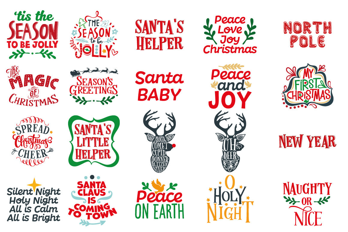 Christmas Bundle 129 Christmas Quotes In Svg Dxf Cdr Eps Ai
