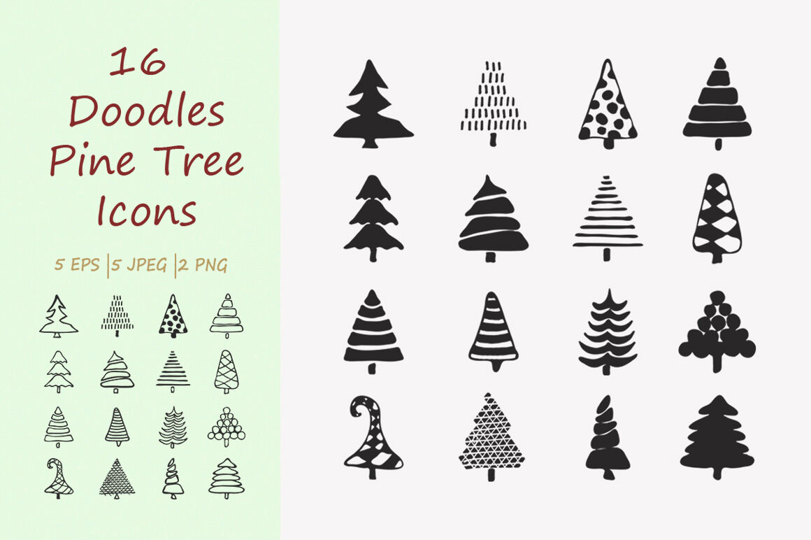 16 Doodles Christmas Tree Icons By Ircy Art Thehungryjpeg Com