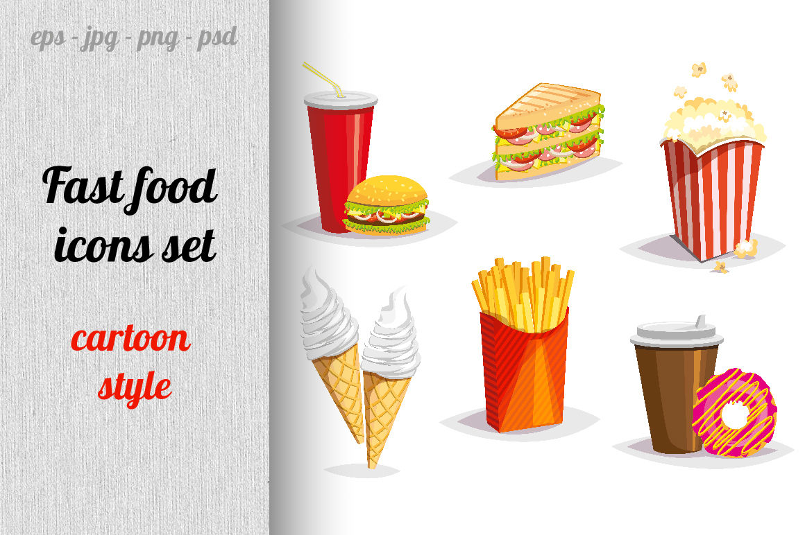 Fast Food Icons Set By Mary Stocker Thehungryjpeg Com