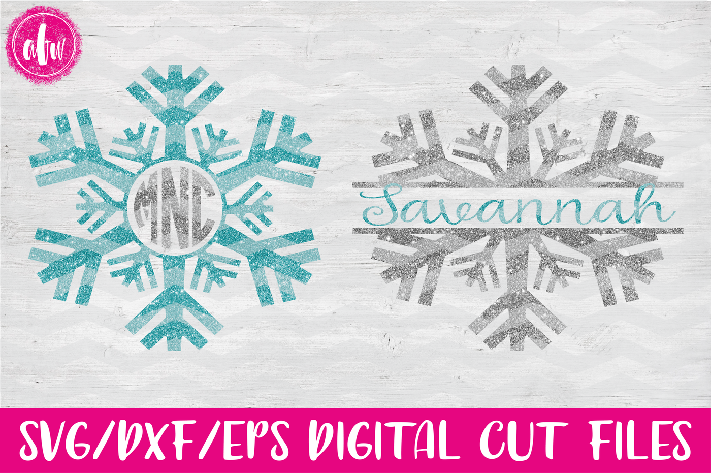Winter Snowflake Monogram Svg Dxf Eps Digital Cut Files By