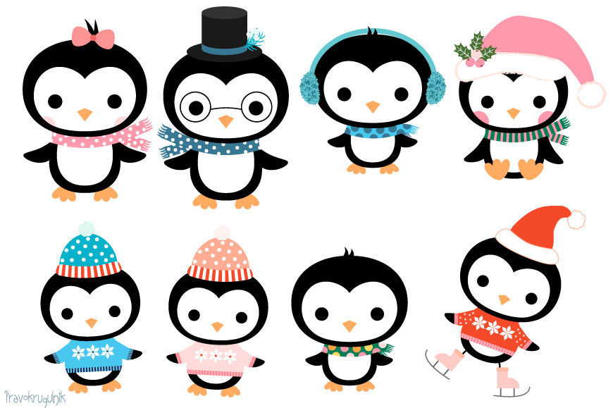 Cute penguin family clipart set, Christmas penguins ...