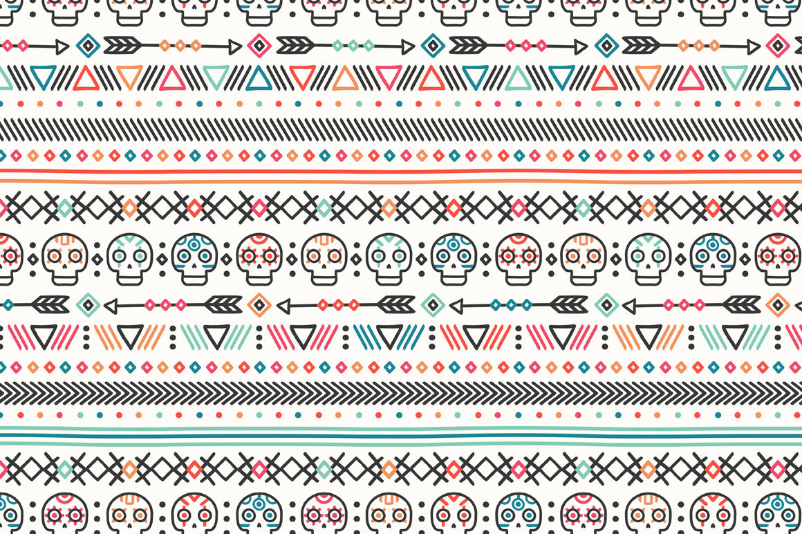 day of the dead  tribal hand drawn line mexican ethnic seamless pattern  border  wrapping paper