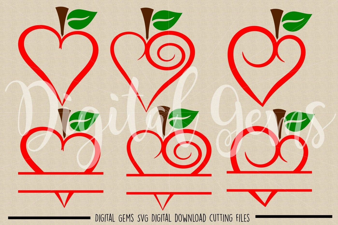 Apple Hearts Svg Dxf Eps Png Files By Digital Gems Thehungryjpeg Com