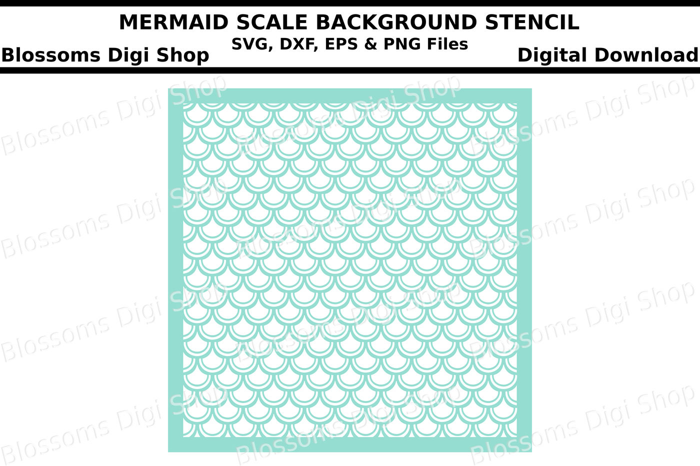 Mermaid scales background SVG, DXF, EPS and PNG cut files By
