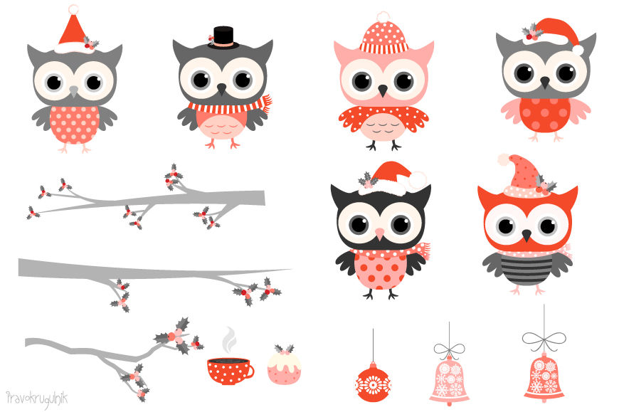 Red Grey Winter Owls Clipart Cute Christmas Owl Characters Clip