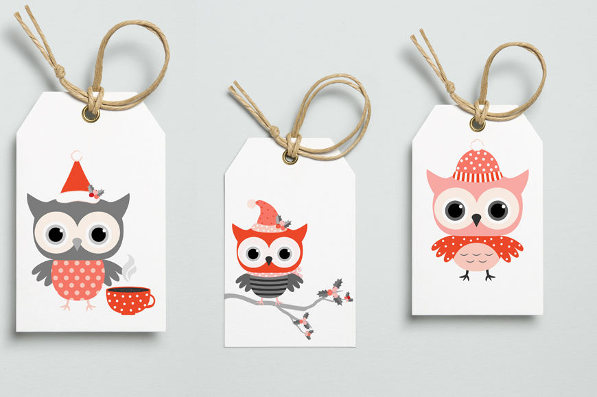 Red grey winter owls clipart, Cute Christmas owl ...