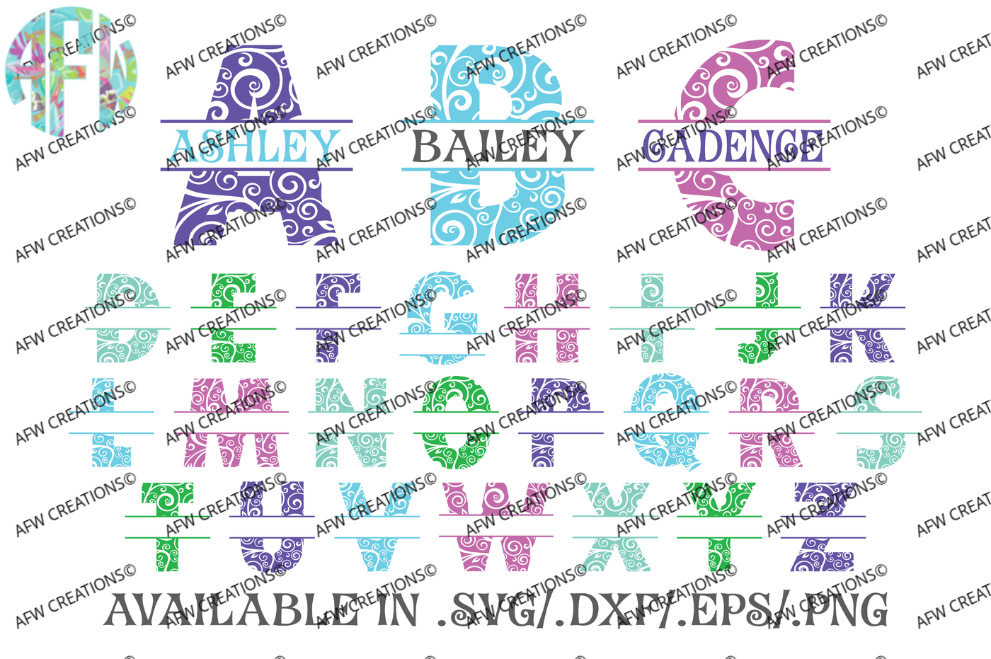 Split Swirl Ornament Letters Svg Dxf Eps Digital Cut Files By Afw Designs Thehungryjpeg Com