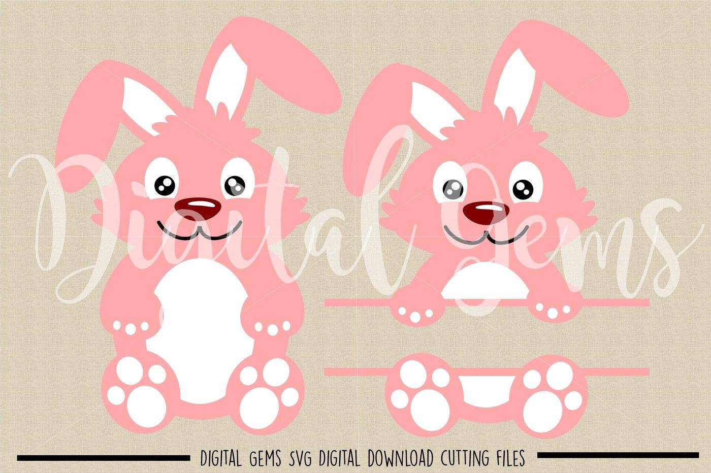 Easter Bunny Rabbit Split Rabbit Svg Dxf Eps Png Files By Digital Gems Thehungryjpeg Com