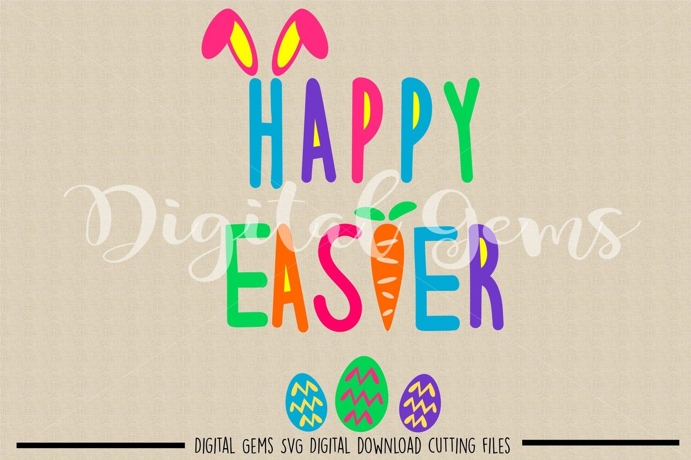 Happy Easter Svg Dxf Eps Png Files By Digital Gems