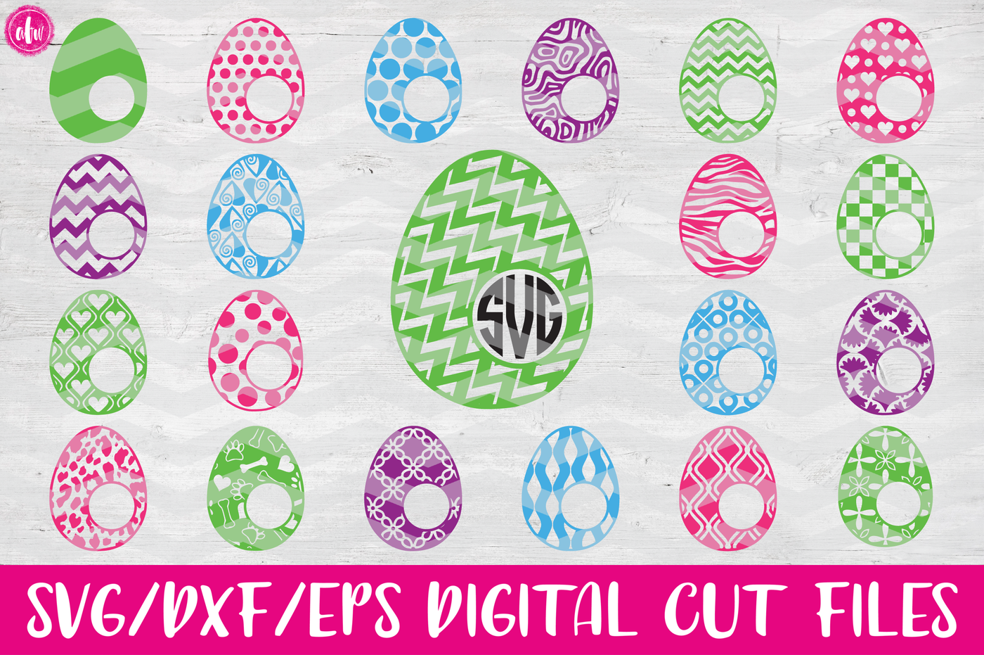 40 Patterned Monogram Eggs Bundle Svg Dxf Eps Cut Files By Afw Designs Thehungryjpeg Com