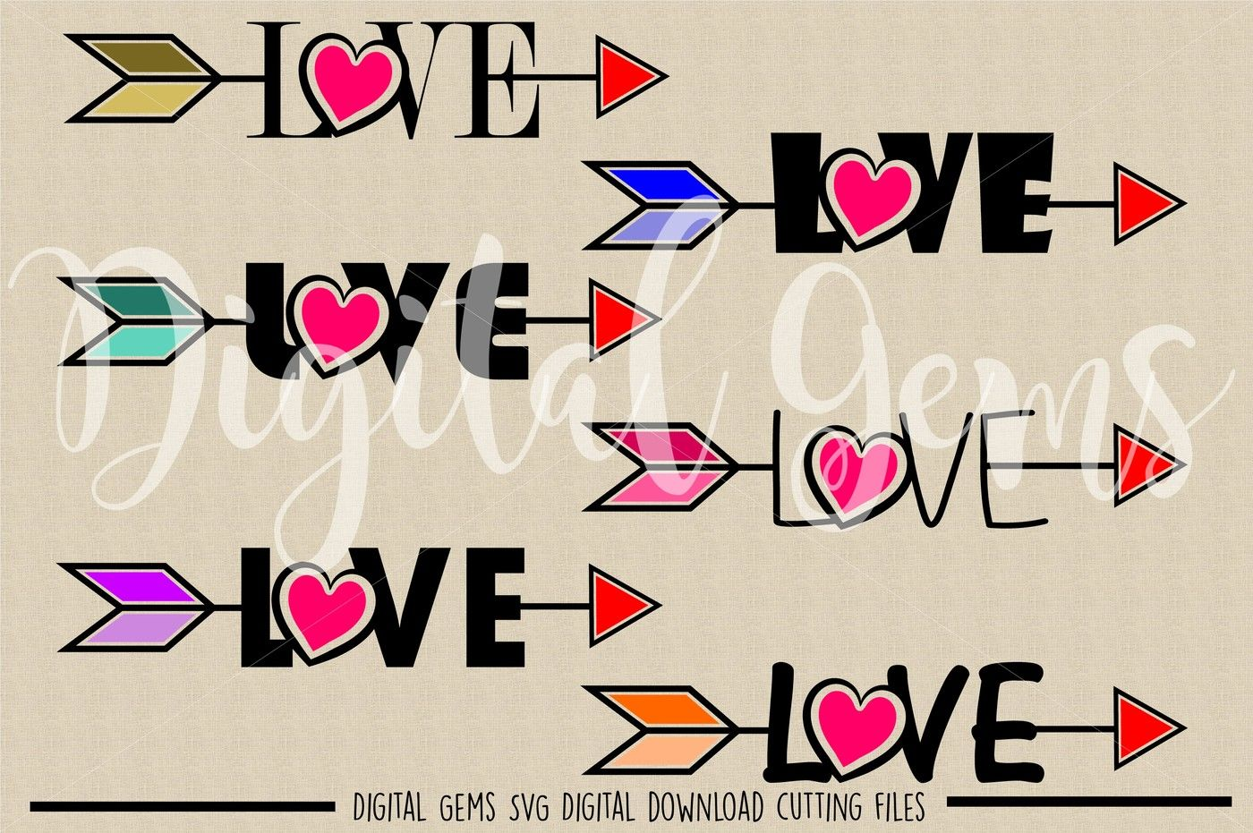 Love Arrow Svg Dxf Eps Png Files By Digital Gems