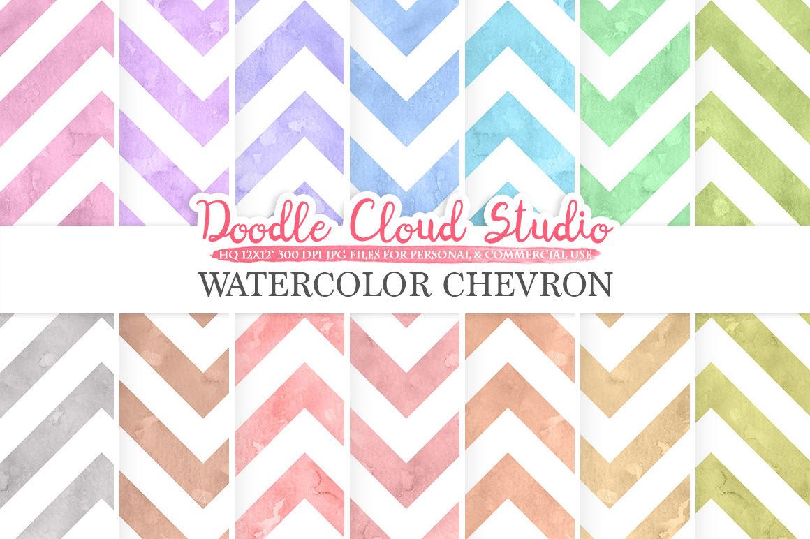 Watercolor Chevron Digital Paper Zigzag Patterns Pastel Colors