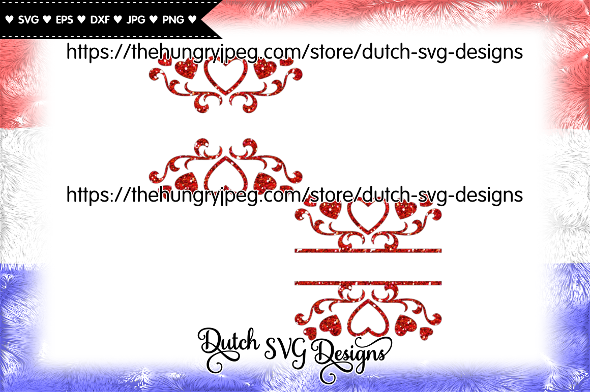 2 Split Border Cutting Files With Hearts Split Monogram Svg Love