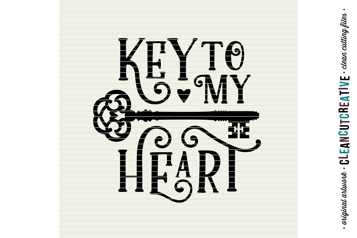 Key To My Heart Love Cutfile Vintage Key Svg Dxf Eps Png