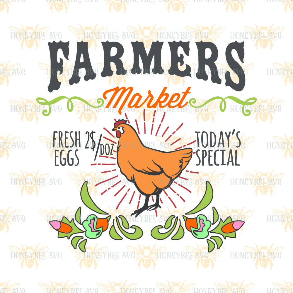 Farmers Market Chicken By Honeybee Svg Thehungryjpeg Com
