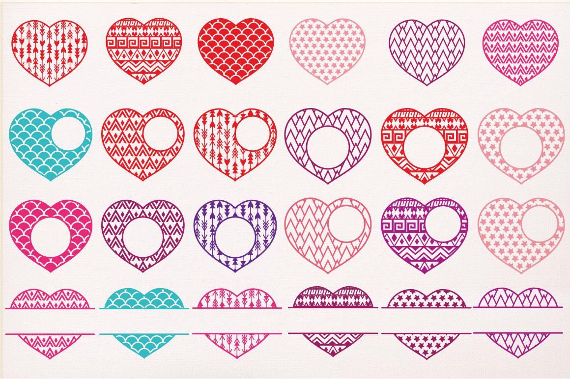 Valentines Hearts Designs Monogram Frames Svg Cutting File Svg