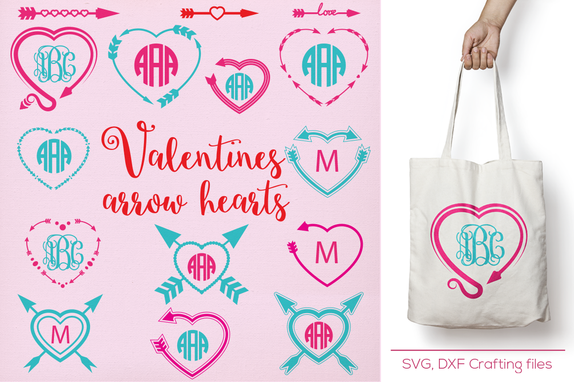 Arrow Hearts Designs Monogram Frames Svg Cutting File Svg Dxf