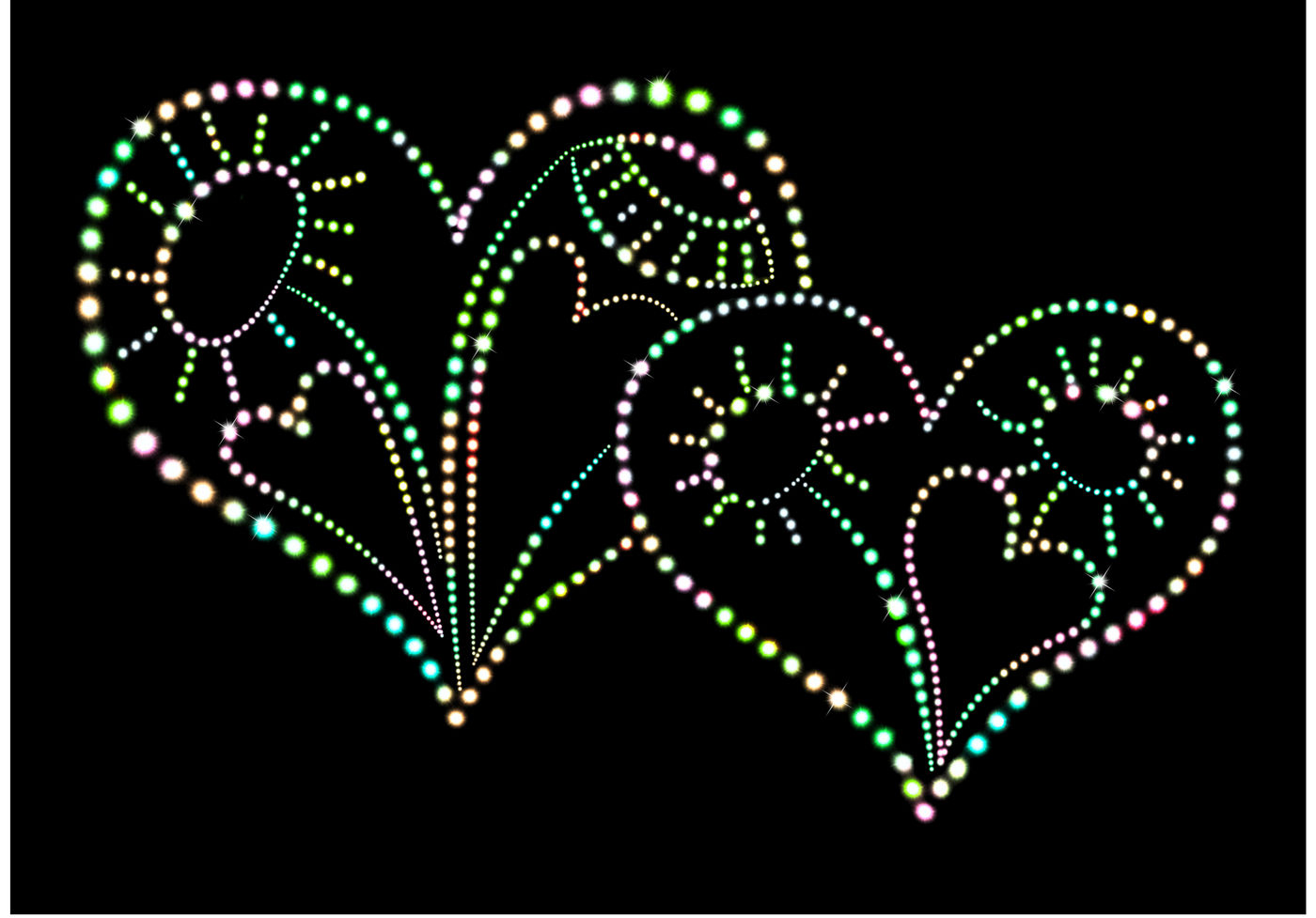 Image Bright Glowing Heart With Pattern And Individual